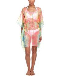 Saachi - Pink & Lime Watercolor Chiffon Kaftan - Lyst