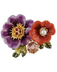 Les Nereides - Winter Gardens Purple And Orange Flowers And Stone Brooch - Lyst