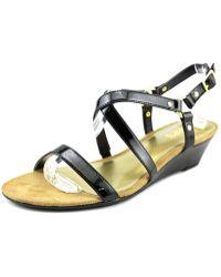 Chaps - Mackenzee Women Open Toe Synthetic Black Wedge Sandal - Lyst