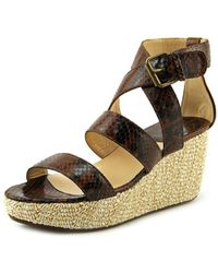 Amalfi by Rangoni - Parella Women Open Toe Leather Wedge Sandal - Lyst