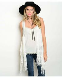 Leather And Sequins - White Lace Fringe Vest - Lyst