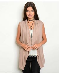 Leather And Sequins - Nude Open Front Vest - Lyst