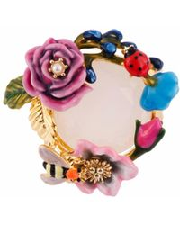 Les Nereides - Oriental Rose Multi Flower Bee And Ladybird With Stone Ring - Lyst