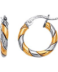Jewelry Affairs - 14k Yellow And White Gold Two Tone Small Twisted Hoop Earrings, Diameter 17mm - Lyst