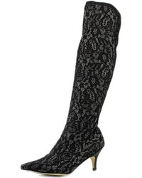 All Black - Her Highness Women Pointed Toe Canvas Knee High Boot - Lyst