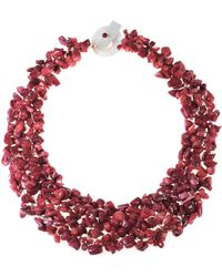 Aeravida - Collared Reconstructed Red Coral Bead Cluster Toggle Necklace - Lyst