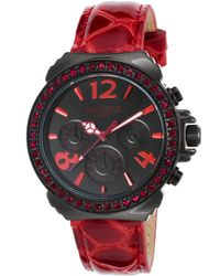 Lancaster Italy   Women's Pillo Fantasy Chronograph Red Leather Black Dial Black Ip Ss   Lyst