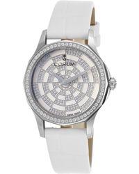 Corum - Women's Admiral's Cup Legend Diamond White Genuine Alligator And Dial - Lyst