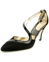 Ron White - Crystal Pointed Toe Leather Slingback Heel - Lyst