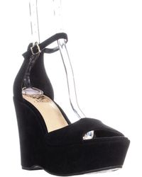 Vince Camuto - Tatchen Ankle Strap Wedge Sandals, Black - Lyst