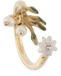 Les Nereides - Twilight Beauty Leaves And Crystal Adjustable Ring - Lyst