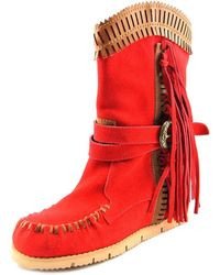 Mojo Moxy - Nomad Mid Calf Women Round Toe Suede Red Mid Calf Boot - Lyst
