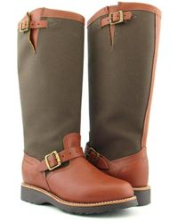 """Chippewa - L23913 15"""" Viper Cloth Snake Women Leather Brown Mid Calf Boot - Lyst"""