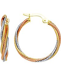 Jewelry Affairs - 14k 3 Tone Rose Yellow And White Gold Round Braided Tube Hoop Earrings, Diameter 22mm - Lyst