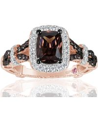 Suzy Levian - Rose Sterling Silver Brown And White Cubic Zirconia Engagement Ring - Lyst