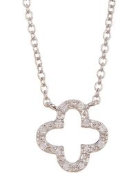 Adornia - Sterling Silver And Swarovski Crystal Clover Necklace - Lyst