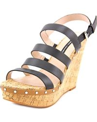 French Connection - Deon Open Toe Leather Wedge Sandal - Lyst