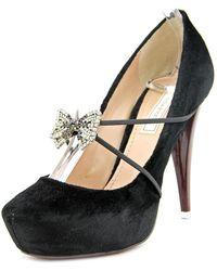 Nina Ricci - Nr19194 Pumps Women Round Toe Canvas Black Heels - Lyst