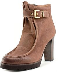 Napoleoni | Sauvage Round Toe Leather Ankle Boot | Lyst