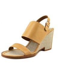 Veronique Branquinho - Vb20042 Women Open Toe Leather Tan Wedge Heel - Lyst
