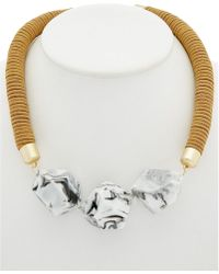 French Connection - 12k Plated Esafari Sands Suede & African Stone Necklace - Lyst