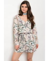 Leather And Sequins - Peach Leaf Floral Romper - Lyst