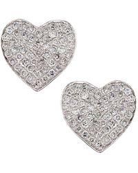 Cr By Casa Reale 14 K Gold White Diamonds Heart Stud Earrings Lyst