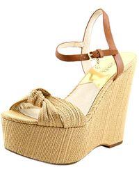 MICHAEL Michael Kors - Benji Wedge Women Open Toe Canvas Tan Wedge Sandal - Lyst
