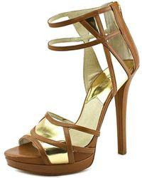 MICHAEL Michael Kors - Jaida Back Zip Women Open Toe Leather Gold Sandals - Lyst