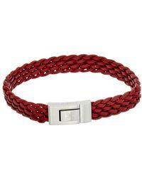 Thompson London - Stainless Steel & Leather Bracelet - Lyst