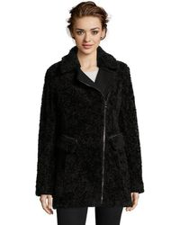Catherine Malandrino - Flat Faux Curly Lamb Fur Coat With Wool Combo And Asymmetrical Zipper Closure - Lyst