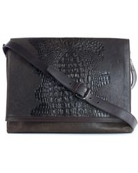 Roberto Cavalli - Men's Brown Leather Croc Embossed Messenger Bag - Lyst