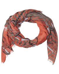 La Fiorentina - Women's Scarf With Chain/striped Print - Lyst