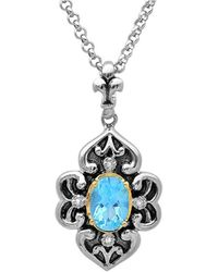 Amanda Rose Collection - Sterling Silver And 14k Gold Swiss Blue Topaz And Diamond Antique Pendant (1ct Tgw) - Lyst