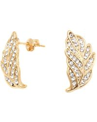 Peermont | Gold And Swarovski Elements Leaf Earrings | Lyst