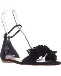 Steve Madden - Dorthy Flat Ankle Strap Sandals, Black Suede - Lyst