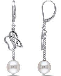 Julianna B - White Freshwater Cultured Pearl Leverback Earrings - Lyst
