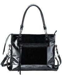 Mofe - Eunoia Distressed Leather And Suede Paneled Shoulder Bag With Adjustable Crossbody Capable Strap - Lyst