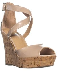 Material Girl - Mg35 Mstefy Ankle Strap Wedge Sandals, Nude - Lyst