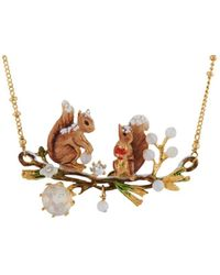 Les Nereides - Forest's Secret Couple Of Snow-covered Squirrel On Their Branch And Faceted Glass Necklace - Lyst