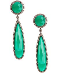 Adornia - Green Onyx And Champagne Diamond Gillian Earrings - Lyst