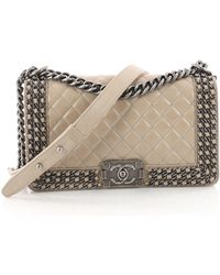 928a115ba0db Chanel - Pre Owned Chained Boy Flap Bag Quilted Glazed Calfskin Old Medium  - Lyst