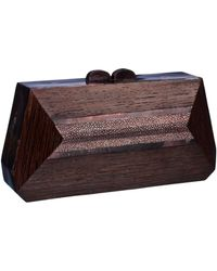 Nada Sawaya - Celebration Minaudiere Stingray Saminori Wood Cinnamon - Lyst