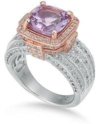 Suzy Levian - Sterling Silver Cushion Purple Amethyst 5.05 Cttw Ring - Lyst