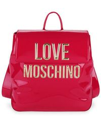 Love Moschino - Logo Faux Patent Backpack - Lyst