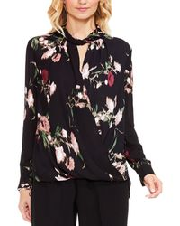 Vince Camuto - Womens Sheer Floral Print Wrap Top - Lyst