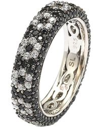 Suzy Levian - Sterling Silver Cubic Zirconia Black And White Flower Eternity Band - Lyst