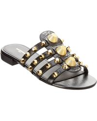 d9f847b107615 Balenciaga Anthracite Leather Studded Arena Flat Thong Sandals in ...