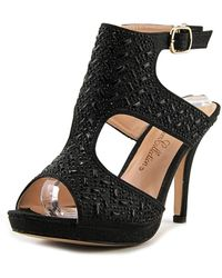 De Blossom Collection - Robin Women Open Toe Synthetic Black Platform Heel - Lyst