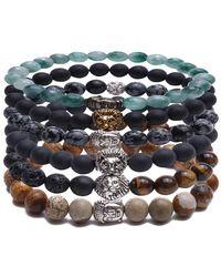 Something Strong - Bundle Of 6 Beaded Zinc Alloy Lion And Buddha Bracelets - Lyst